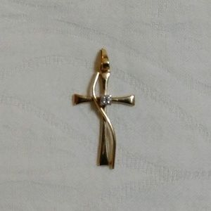 Gold Cross Pendant w/Diamond Chip